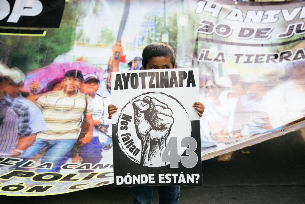 Demonstration in Mexico City 3 years after the enforced disappearance of 43 students of Ayotzinapa