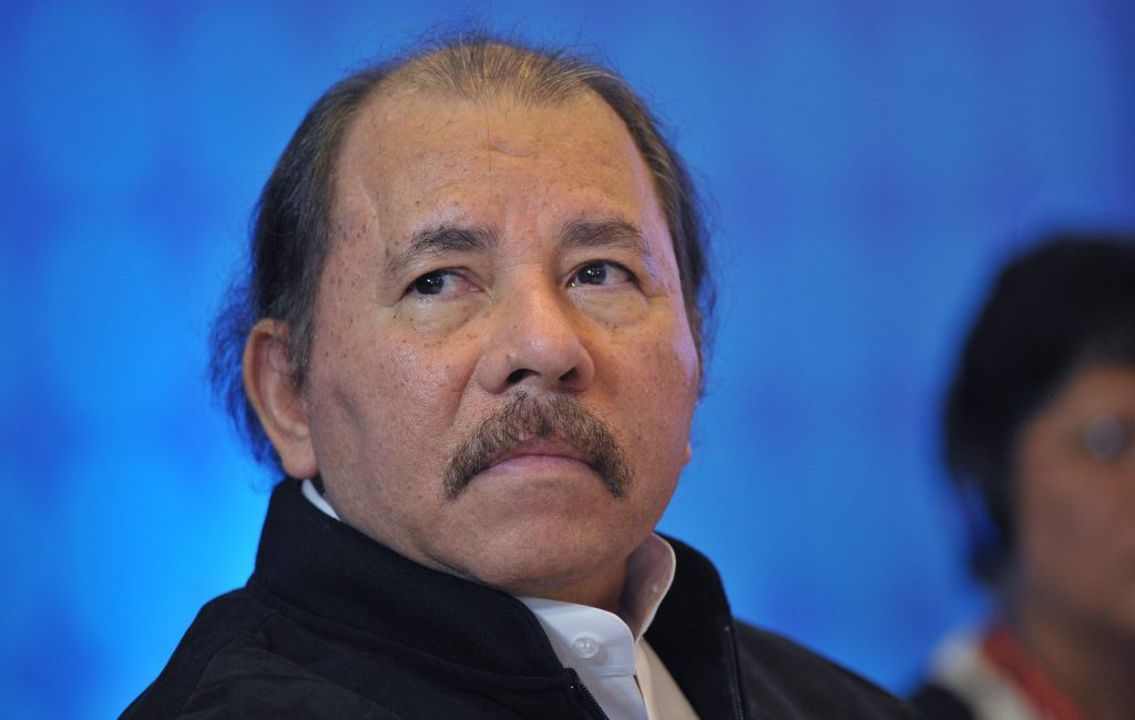 Nicaraguan President Daniel Ortega attends a meeting with members of the Central American Integration System (SICA) in a hotel  in Panama City on April 10, 2015, in the framework of the VII Americas Summit.