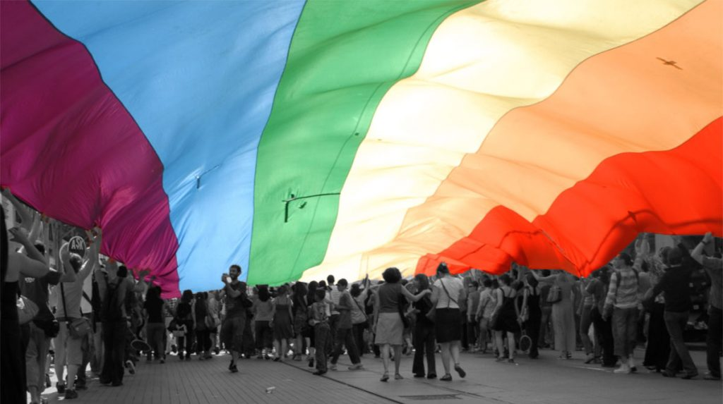 LGBT Pride Parade in Istanbul, 29 June 2008. Rainbow flag