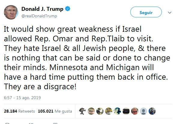 2019-08-16_11_35_34-Donald_J._Trump_en_Twitter___It_would_show_great_weakness_if_Israel_allowed_Rep.