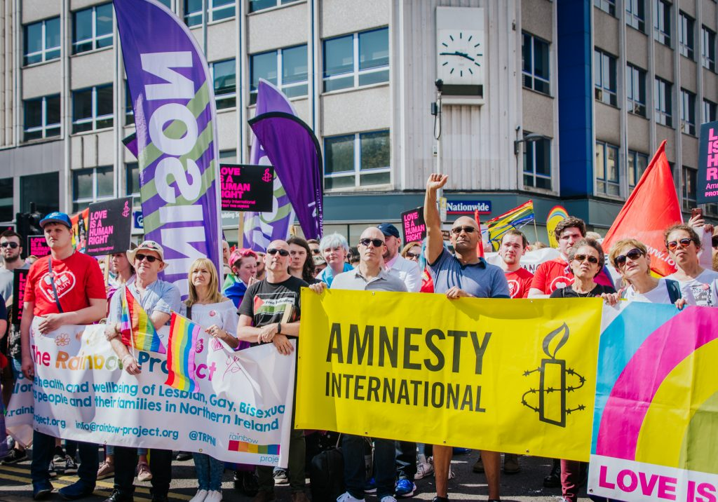 Demonstration for marriage equality, held in Belfast, Northern Ireland, June 2 2018. Organised by the Love Equality campaign, of which Amnesty International is a leading member.